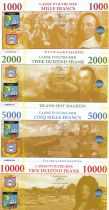 Saint Martin Lot 4 billets Fantaisies - 1000 à 10000 Francs - 2018