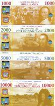 Saint Martin Lot of 4 Fantasy notes - 1000 to 10000 Francs - 2018