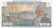 Saint-Pierre and Miquelon 5 Francs Bougainville - 1946  - Serial B.81 - UNC