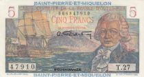 Saint-Pierre and Miquelon 5 Francs Bougainville - 1946  - Serial T.27