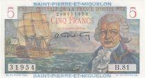 Saint Pierre e Miquelon 5 Francs Bougainville - 1946  - Serial B.81 - a.UNC