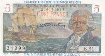 Saint Pierre e Miquelon 5 Francs Bougainville - 1946  - Serial B.81 - UNC