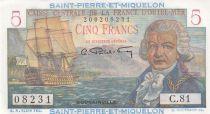 Saint Pierre e Miquelon 5 Francs Bougainville - 1946  - Serial C.81 - a.UNC