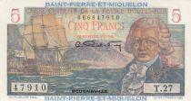 Saint Pierre e Miquelon 5 Francs Bougainville - 1946  - Serial T.27