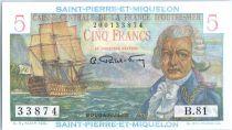 Saint-Pierre et Miquelon 5 Francs Bougainville - 1946  - B.81