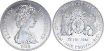 Sainte Hélène 1 Crown Elisabeth II - Jubilé 25 ans du Couronnement 1978 - Argent - SPL