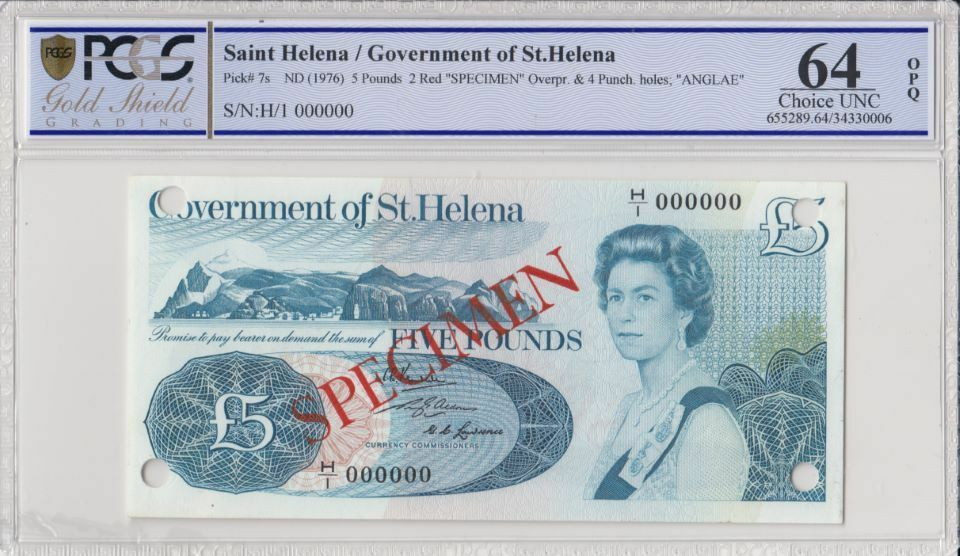 Sainte Hélène 5 Pounds Elisabeth II - Armoiries - ND 1976 - PCGS 64 OPQ