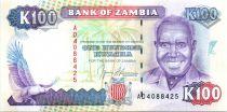 Sambia 100 Kwacha Pdt Kaunda - Victoria falls - 1991