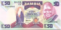 Sambia 50 Kwacha Pres K. Kaunda - chainbreaker statue (1986-1988)