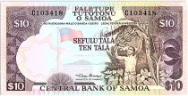 Samoa 10 Tala  - Agriculture worker - ND 1985 Serial C
