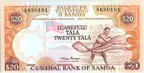 Samoa 20 Tala  - Fisherman - ND 1985 Serial A