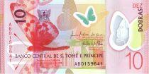 Sao Tomé-et-Principe 10 Dobras Papillons - Oiseau - Polymer 2016 (2017)