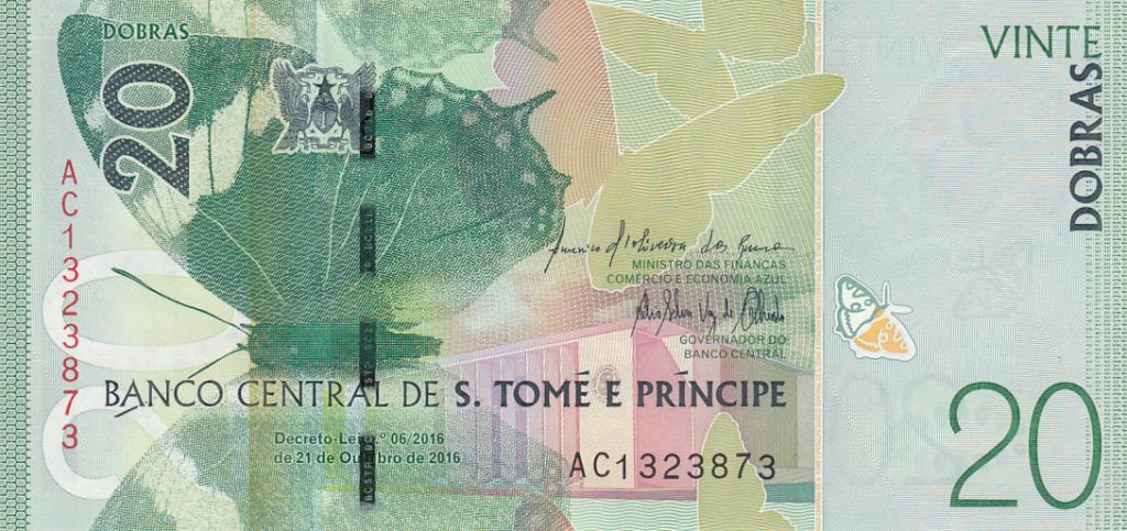 Sao Tomé-et-Principe 20 Dobras Papillons - Grenouille - 2016 (2017)