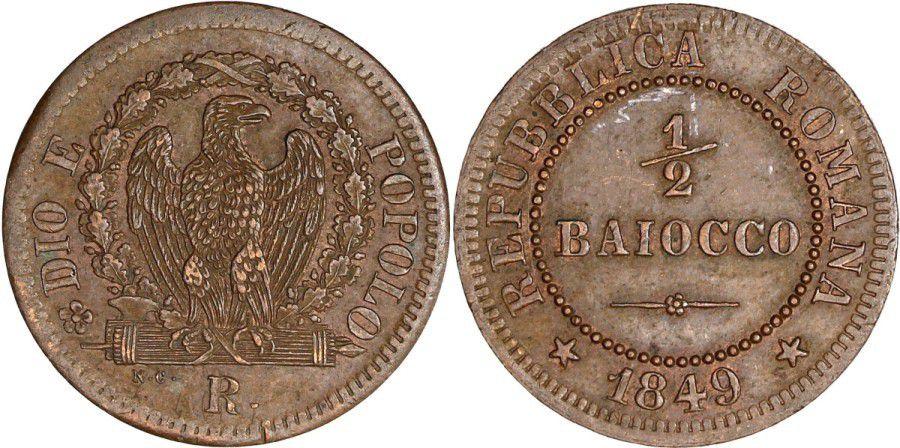Sardaigne 1/2 Baiocco - République Romaine -1848 R