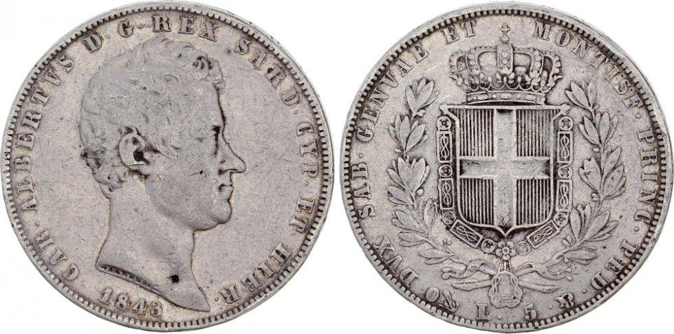 Sardaigne 5 Lire Charles-Albert - Armoiries - 1843 P