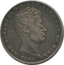 Sardaigne 5 Lire Charles-Albert - Armoiries - 1844 P