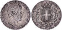 Sardaigne 5 Lire Charles-Albert - Armoiries - 1849 P Ancre
