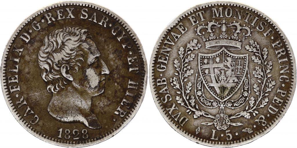Sardaigne 5 Lire Charles Felix - Armoiries -1828 L Turin  Argent