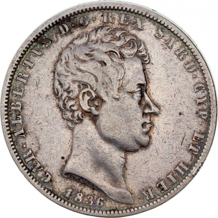 Sardinia 5 Lire Charles-Albert - Arms - 1836 P