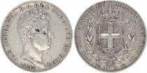 Sardinia 5 Lire Charles-Albert - Arms - 1842 P