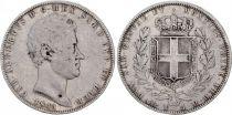 Sardinia 5 Lire Charles-Albert - Arms - 1843 P
