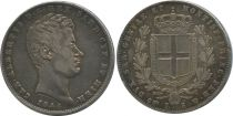 Sardinia 5 Lire Charles-Albert - Arms - 1844 P