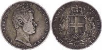 Sardinia 5 Lire Charles-Albert - Arms - 1849 P Anchor  - Genoa