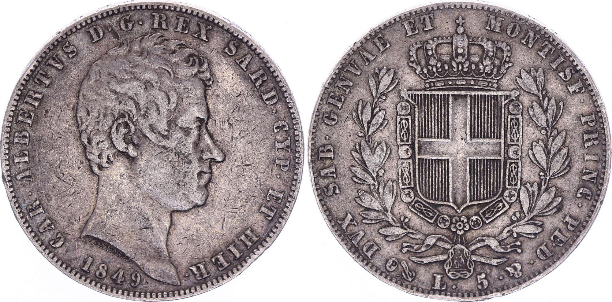 Sardinia 5 Lire Charles-Albert - Arms - 1849 P Anchor