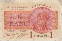 Sarre 1 Franc Mines Domaniales de la Sarre - Type 1920 A 243,361