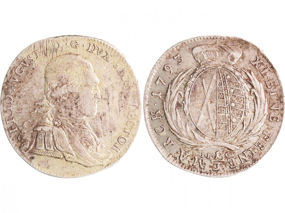 Saxony 1/3 Thaler Friedrich Auguste - Armoiries