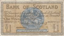 Schottland 1 Pound - 01-03-1955 -Seated woman, Ship, Thistle - Serial A
