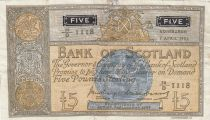 Schottland 5 Pounds - 07-04-1955 - Seated Woman, Coat of Arms - Serial 20/D