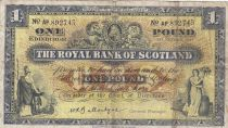 Scotland 1 Pound - 01-10-1957 - Allegorical figures, bank buildings - Serial AP