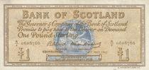 Scotland 1 Pound - 04-05-1965 -Seated woman, Ship, Thistle - Serial A/J