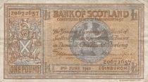 Scotland 1 Pound Bank of Scotland - 1942 - aVF - P.91c