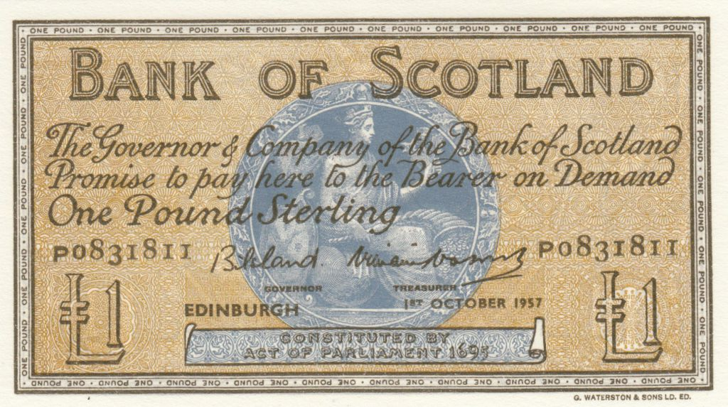 Scotland 1 Pound Bank of Scotland - 1957 - AU - P.100c