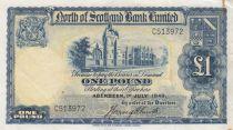 Scotland 1 Pound North of  Scotland Bank - 1940 aVF - S.644