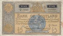 Scotland 5 Pounds Bank of Scotland - 1955 - F - P.99a