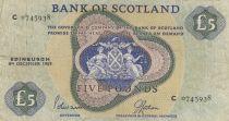 Scotland 5 Pounds Bank of Scotland - 1969 - VF - P.110b
