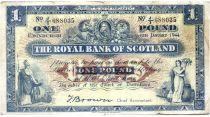 Scozia 1 Pound 1944 - Coat of arms, buildings - Serial J/1
