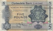 Scozia 5 Pounds 1963 - Coat of arms, church - Serial C/C
