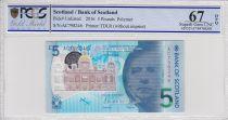 Scozia 5 Pounds Sir Walter Scott - Brig o\' Doon - Polymer - 2016 - PCGS 67 OPQ