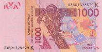 Senegal 1000 Francs Camels - Senegal letter K - 2003