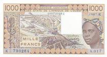 Senegal 1000 Francs woman 1987 - Senegal - Serial A.017