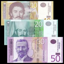 Serbia Set of 3 banknotes 10 to 50 Dinara - UNC