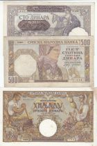 Serbia Set of 3 banknotes 100 to 1000 Dinara - 1941-1942