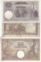 Serbia Set of 3 banknotes 100 to 1000 Dinara - 1941-1942