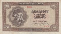 Serbie 20 Dinara 1941 - Homme âgé, Armoiries