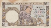 Serbie 500 Dinara 1941 - Femme - Maçon