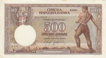 Serbie 500 Dinara 1942 - Paysans - Série H